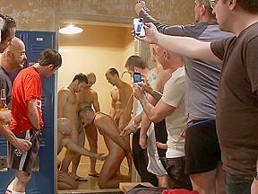 Ex military gets fucked crowded locker room...