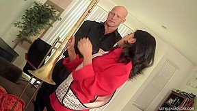 Tiny asian with great ass learns trombone...