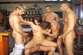 Sexy april anally gangbanged in workshop...