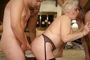 Horny takes on four guys...