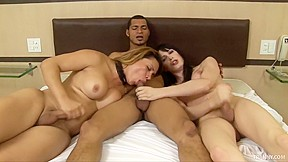 Cum swapping trannys share a fat cock...