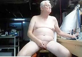 Grandpa nudist wanking his uncut cock...