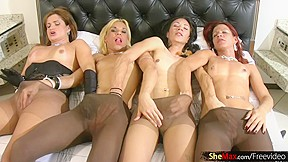 Four dolls with balls suck cumload from ts...