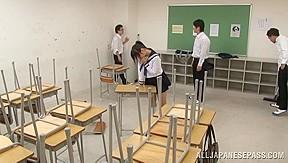 Japanese av model horny schoolgirl enjoys class...
