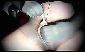 Transvestite nylon urethral sounding cock...