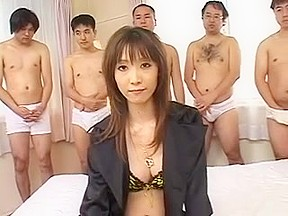 Asian fucked while men cum on her face...