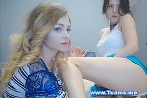 Cute blonde female slurps...