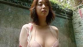 Ayumi turn up the sound beige bikini showering...