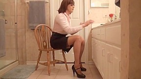 Crazy amateur shemale video with bdsm stockings scenes...