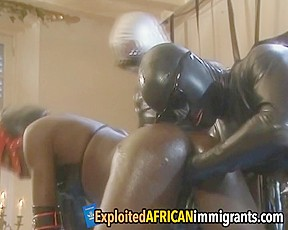 Dirty minded african whore takes in a throbbing...
