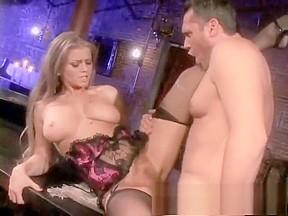 Voluptuous blonde in black stockings to rough...