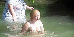 Grannies in see through clothes bathing voyeur...