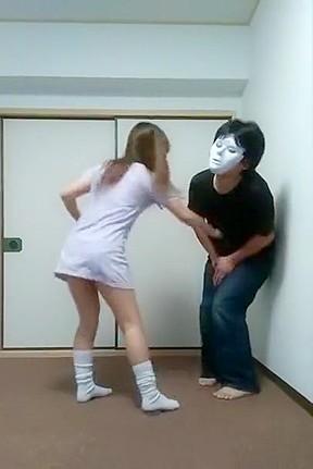 Asian teen hard groin kick...