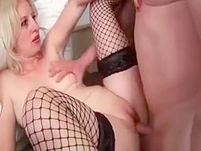 Mature slutty pounded in her fishnets...
