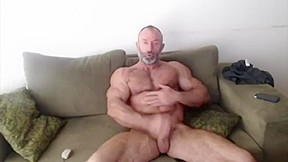Old with huge biceps jerking off...