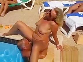 Swingers fucking outside pool...
