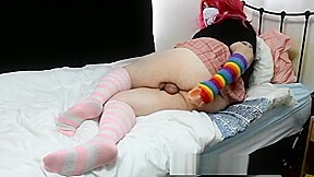 Femboy teases and toys on bed...