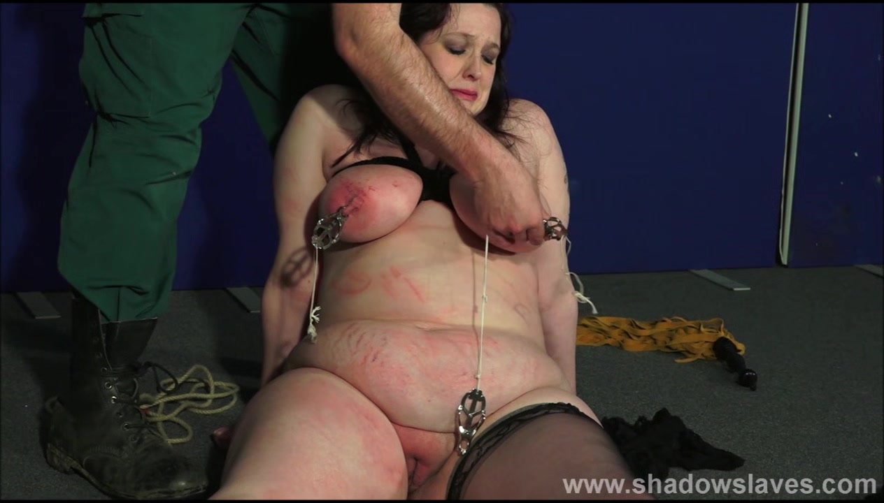 Fat slaveslut Emma tit tortured and breast whipping of bbw masochist in cruel face punishment and merciless humiliation