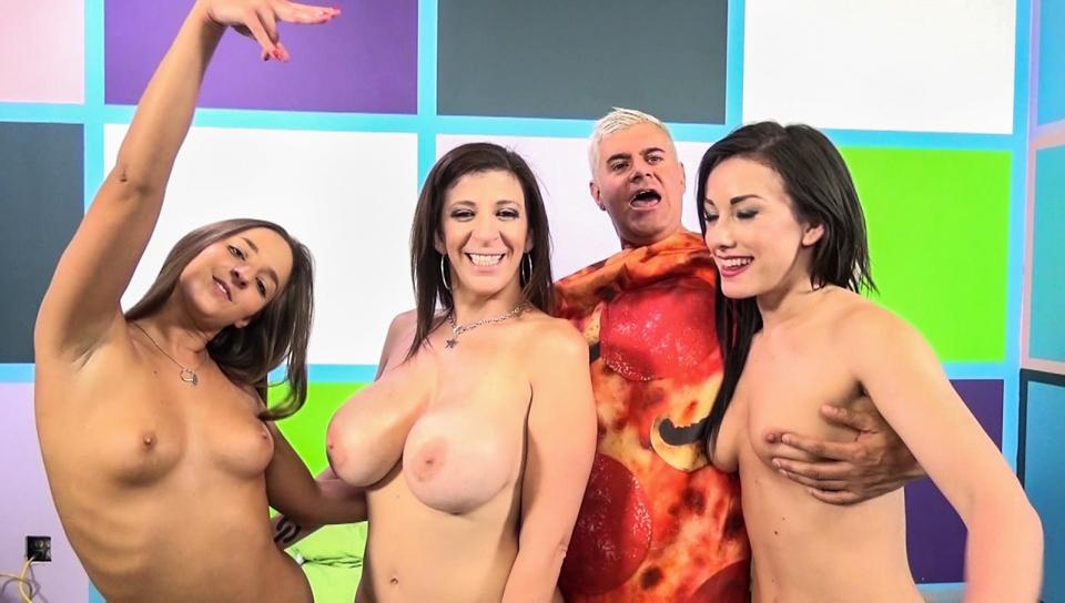 Jennifer White & Sara Jay & Amirah Adara & Porno Dan in Three Girls On A Slice of Dan Video