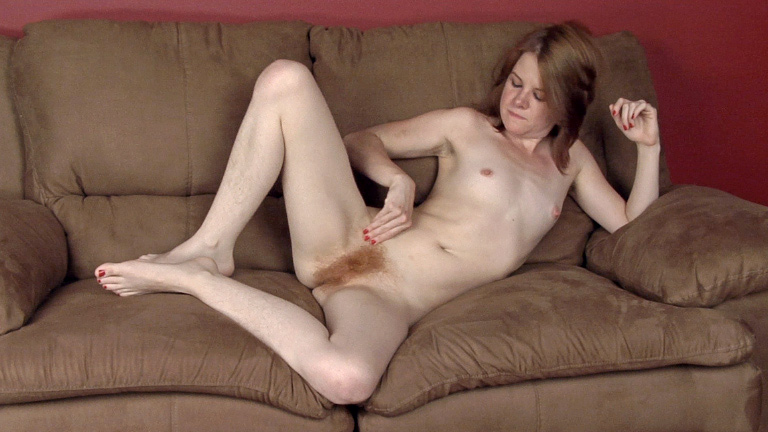 On gold sofa, Kylie Harris strips in stockings - Compilation - WeAreHairy