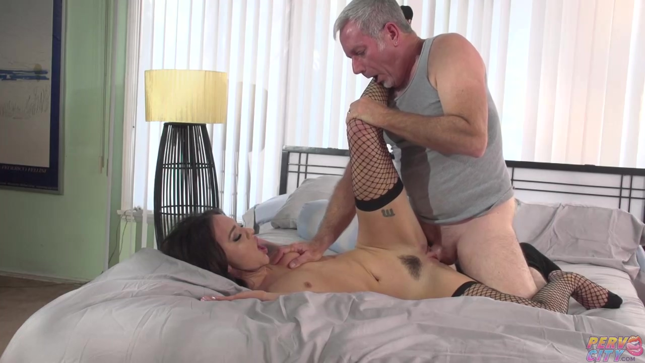 Lovely bitch in mesh stockings, Alex More got fucked hard in the hairy pussy, like crazy
