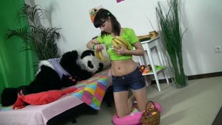 Chic brunette hair angel seducing Panda bear