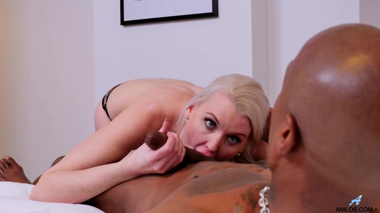 Amazing blonde, Lexi Lou is sucking a black cock, although her husband is a white guy