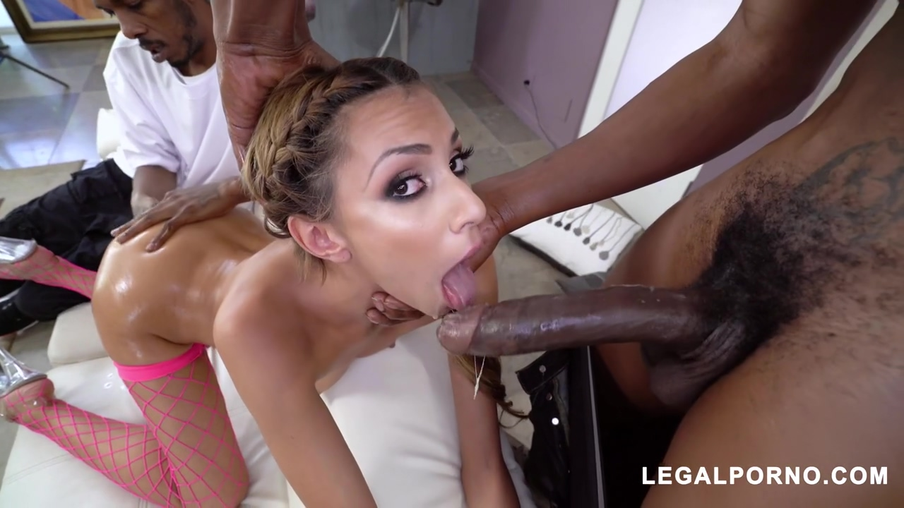 Slim babe, Hime Marie is spreading up wide and getting stuffed with two, black cocks