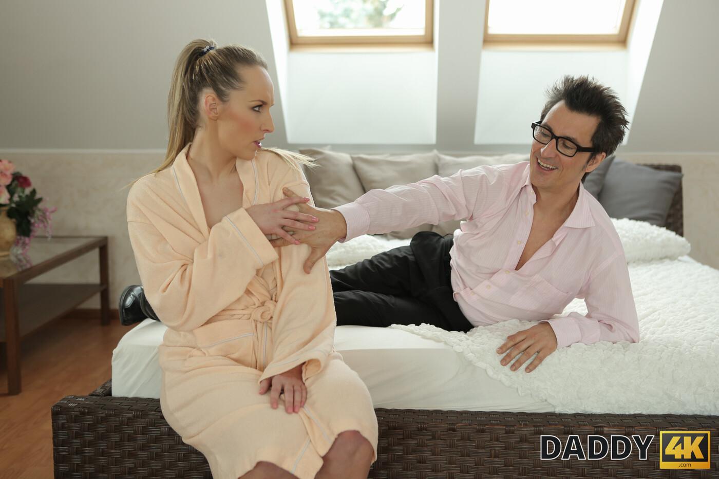 DADDY4K. Dazzling minx has an affair with boyfriends dad in the bed