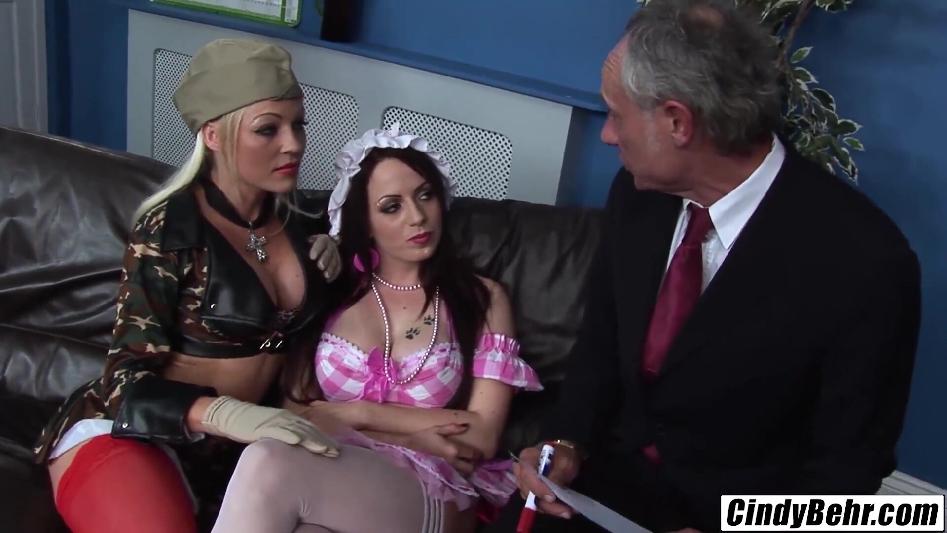Cindy Behr joins stepsister in hot orgy European babes