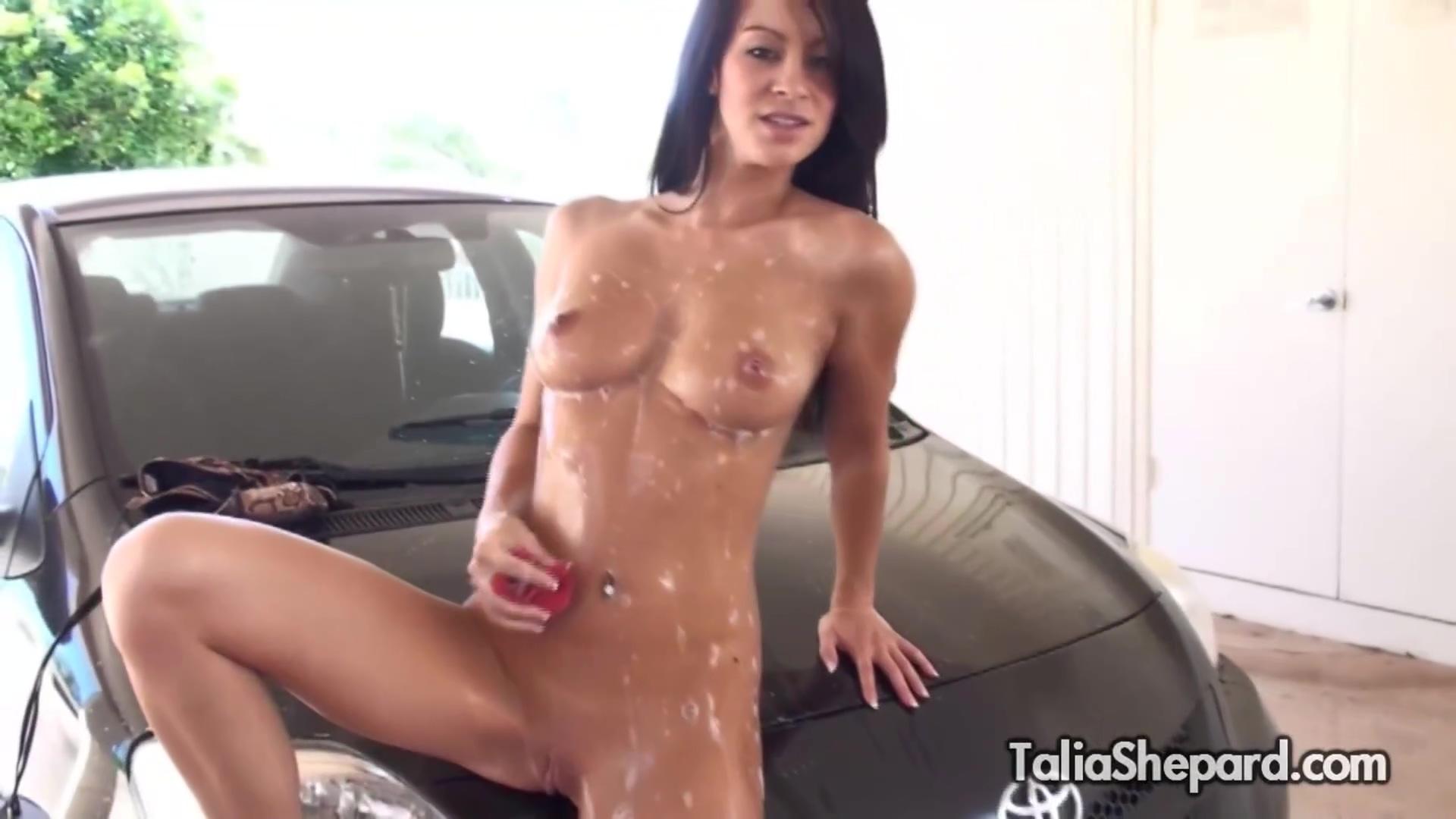 Kinky Brunette Talia Shepard Outdoor Striptease Car Wash