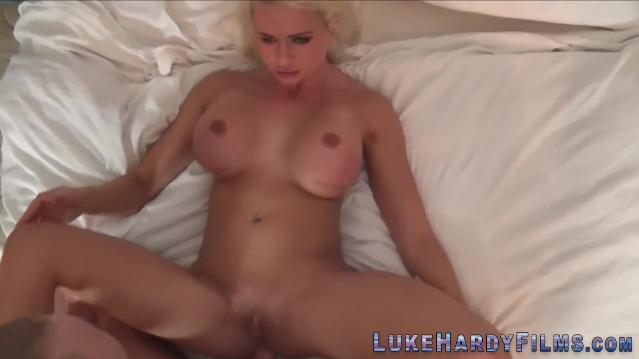 Busty blonde brit rides pornstar Luke Hardy