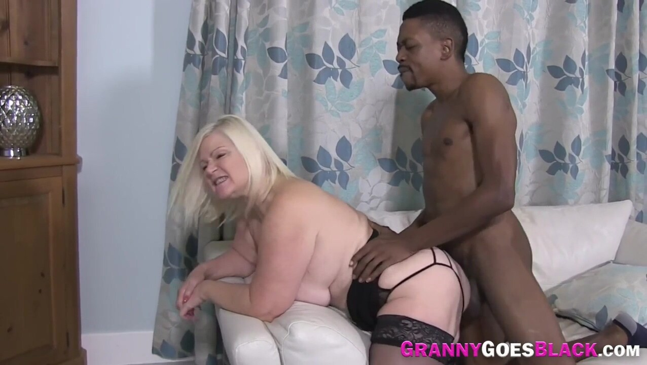 Granny has interracial anal sex