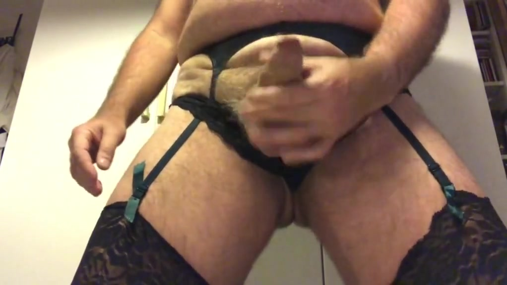 Wanking in my wife's stockings, girdle and see-through top