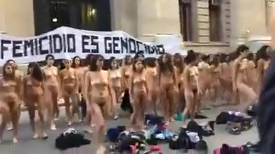 Nude women protest in Argentina -colour version
